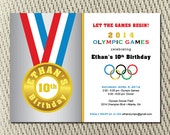 Go For the Gold - Olympic - Red White Blue - Medal - Summer - Games Birthday Party Invite: Digital