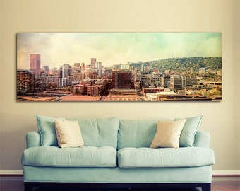 Portland Oregon Photo | Gallery Canvas Wrap | Panorama | Pearl District | Urban Photography | Lomo | Distressed | Landscape | Downtown