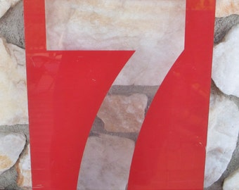 Large Vintage Red Plexiglass Gas Station Sign Number Seven, 17 in. x 8 in.