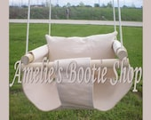 Portable Outdoor Indoor Fabric Baby Infant Swing to Toddler Tree Swing - Baby Outdoor Toy in Ivory