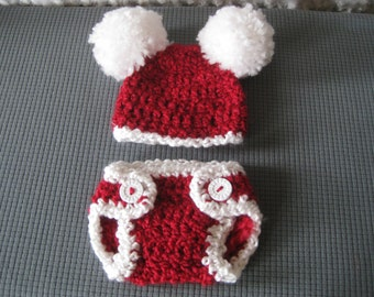 Baby Santa Hat Crochet Baby Hat Santa with Diaper Cover Christmas Baby boy baby girl