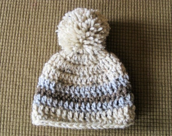 Crochet Baby Hat  Beanie in Oatmeal with stripes of brown and grey tweed and single pom pom