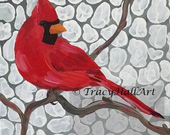 "Cardinal Bird Painting PRINT Red Bird Gray White Art 8"" x 10"""
