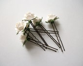 White Flower Hair Pins Set Of Six Antique Bronze Pure Soft White Flower Bridal Hair Accessories For Wedding Vintage Simple Adults