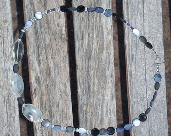 Necklace Gray Grey Black Glass Marbled Beads Clear Agate Ovals Beaded Fashion Jewelry Single Strand