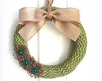 Shamrock Wreath - St. Patrick's Day Wreath - Modern Wreath - Green Chevron Wreath -  Burlap Wreath w/Jute Flowers - Choose Your Size