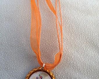 Necklace, Jewelry, Orange Bottle Cap Ribbon Necklace W/ Flowers