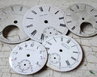 Porcelain Watch Faces, Antique Watch Faces, Steampunk, Jewelry Supplies, Steampunk Supplies, Antique Pocketwatch, Antique Pocket Watch 5 pcs