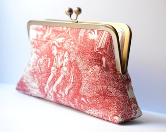 Toile Print Red Kisslock Clutch:  Kisslock Frame Purse for wedding / bridal / party / Birthday gift / Red Toile Bag
