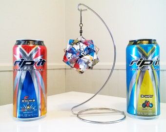 Rip It Energy Drink Origami Ornament, 5 Flavors.  Upcycled Recycled Repurposed Art