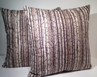 "Set of Two-Decorative Throw Pillow Cover 16"" x 16"" Birch Trees"