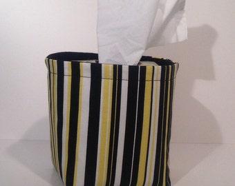 Tissue Holder-Fabric Basket Organizer Bin Storage Container-Black, Yellow, and White Stripe with Solid Black Interior