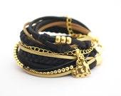 Wrap Bracelet, Boho Bracelet, Black Gold Bracelet, Wide Bracelet, suede, double wrap, boho chic