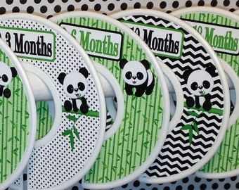 Custom Baby Closet Dividers Organizers in Black White Green Pandas Panda Bear Bamboo Nursery Bedding CD719 Baby Boy Girl Shower New Baby