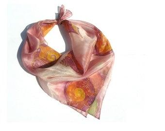 Pink shells hand painted silk scarf, salmon pink, burgundy