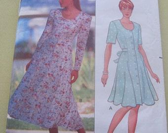 Butterick 5436 Pattern 1990's Dress Short and Long 14,16,18 Vintage
