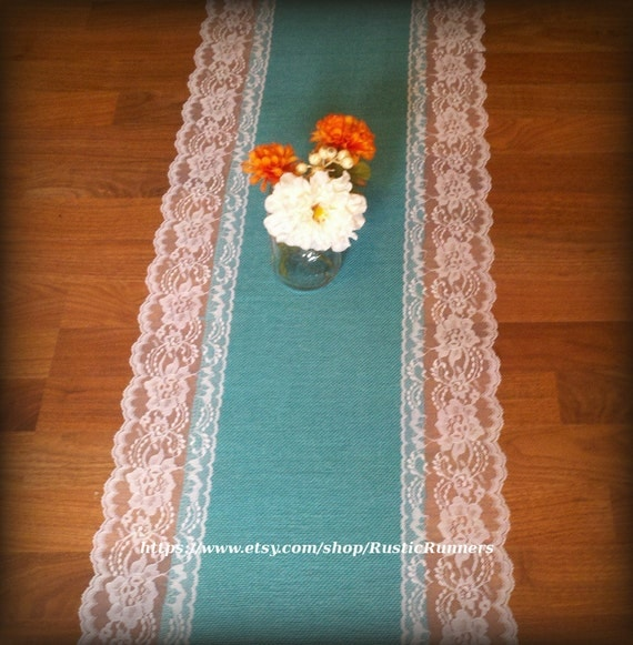 Rustic Wedding Table Decor Teal Turquoise Burlap Lace Table
