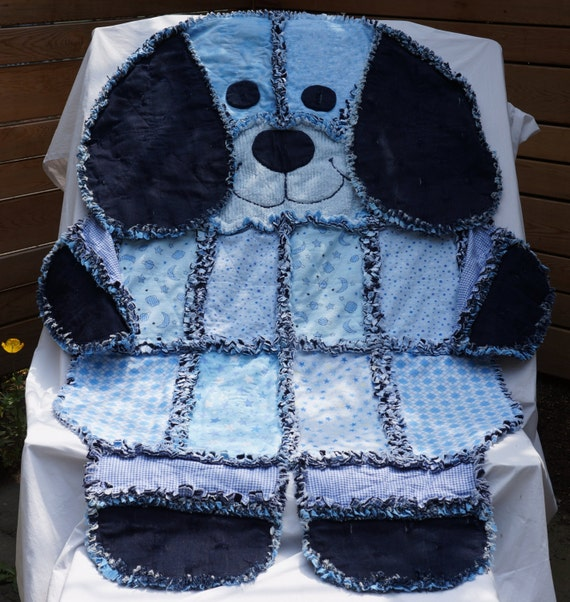 Denim Dawg Quiltrag Quilt Animal Rag Quilt Denim Rag Quilt