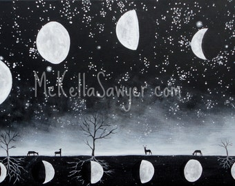 Phase-12x24x.4 Acrylic Painting on Canvas-Black and White Moon, Deer, Trees-Space Art-Tree Painting-Tree Art-Space Painting