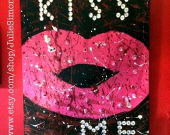 Kiss Me Mixed Media Reclaimed Wood w Spikes Original Art