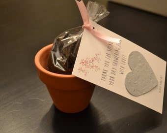 Wedding or Bridal Shower favors - Seed paper hearts (tags only)