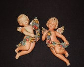 Vintage Awesome Hand Painted Set of Porcelain Cherubs/Victorian/Shabby Chic Christmas Holiday Decor
