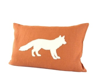 Leather Fox Pillow Cover - Burnt Orange / Ivory Leather