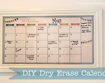 Blank Reusable Monthly Calendar Print- 2 Sizes