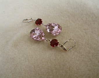 Victorian, Wedding Earring, Christmas, Pink Teardrop and Small Round Ruby Rhinestones Dangle Earring with Silver Lever Back Jewelry