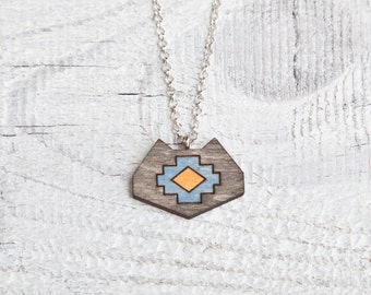 Tribal Cat Necklace, wooden pendant, Black Blue and Yellow