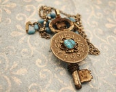 """Steampunk Skeleton Key Necklace """"All Things Turquoise"""""""