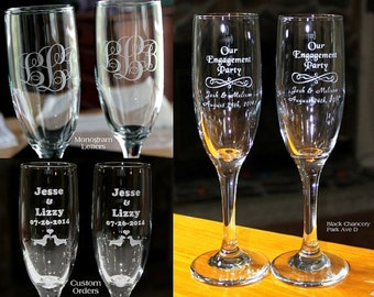 Personalized Cake Server and Etched Glasses - Set