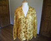 Gold Blouse, Hand Made Blouse, Sheer Gold Blouse, Long Sleeve Blouse