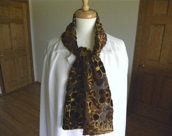 Velvet Burnout Scarf, Dark Brown and Gold, High Fashion Scarf