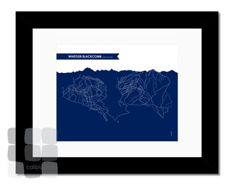Whistler Blackcomb Ski Trail Map - 8x10 - Modern Art Print