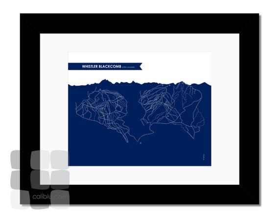 Whistler Blackcomb Ski Trail Map - 8x10 - Modern Art Print