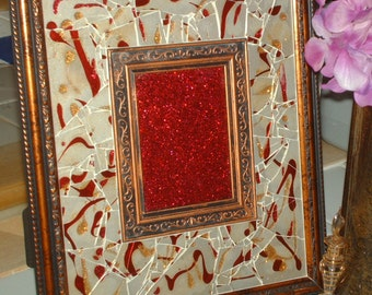 Antiqued Golden Burgundy Memories Shattered  Mosaic Framed  Art