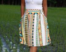 Orange Tribal Skirt, Midi Skirt in Tribal Pattern, Colorful Tribal Skirt with Pockets