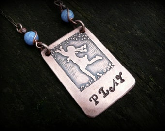 Handmade etched copper necklace......Play... by RECREATE4U