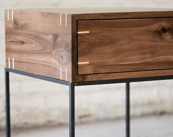 Myers End Table - Black Walnut and Steel