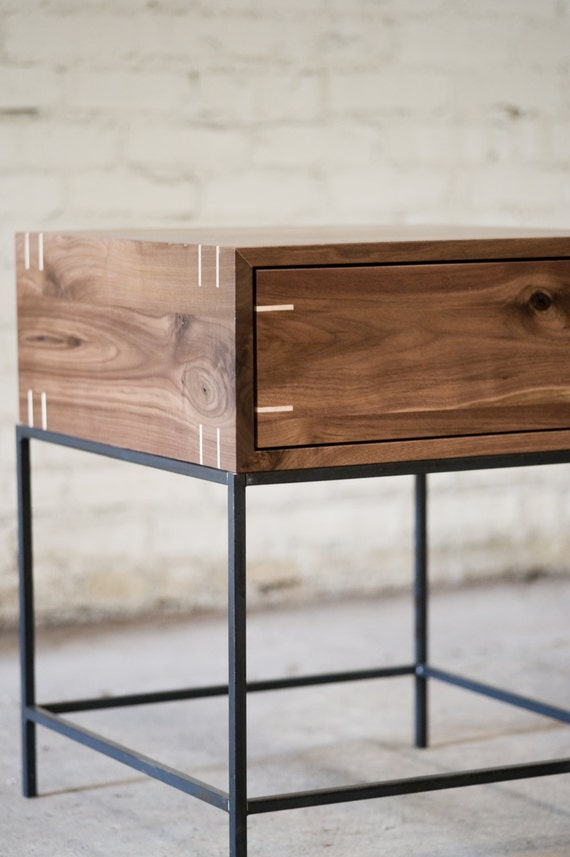 Black Metal Bedside Tables: Myers End Table Black Walnut And Steel