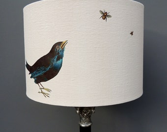 Blackbird lampshade - blackbird and bee - 30cm drum hand printed - Kettle of Fish lampshade