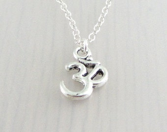 Silver Plated Om Charm On A Sterling Silver Necklace, Silver Aum Pendant, Yoga Pendant, Ohm Necklace, Om Charm Necklace, Om Pendant