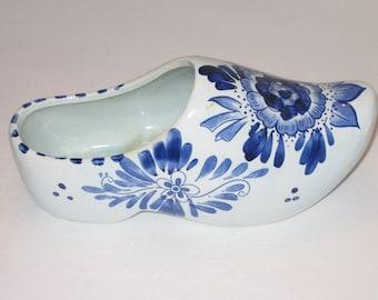 Vintage Dutch Shoe Planter, Ceramic, Floral Container