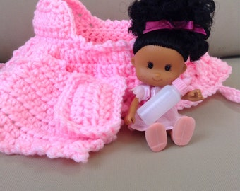 crochet cradle purse in pink with doll blanket pillow and baby bottle also called church purse bassinet purse girls purse with black hair