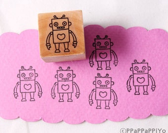 40% OFF SALE Robot Rubber Stamp (20mm)