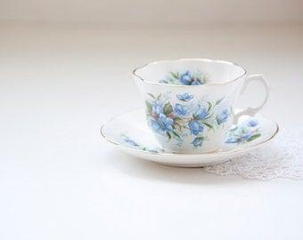 Rosina Fine Bone China Tea Cup and Saucer, Blue Flower
