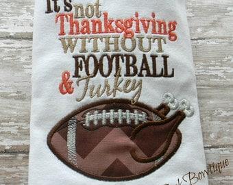 Boys Thanksgiving Shirt Turkey Football Embroidered Shirt or Bodysuit Brown Orange