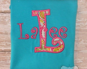 Turquoise Shirt with Mongrammed Name & Initial