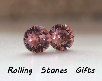 7.27mm Antique Pink Swarovski Studs Xirius Round Rhinestone Stud Earrings-Wine Colored Swarovski Crystal Stud Earrings-Wine Crystal Earrings